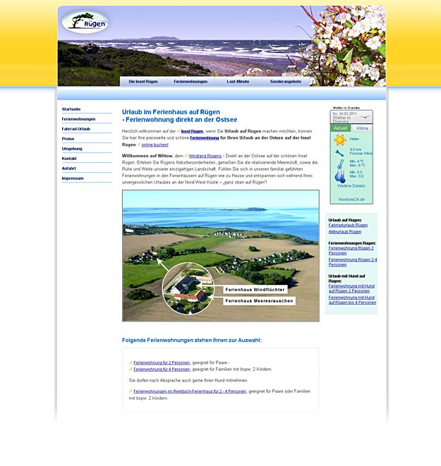 Business-Webdesign / Ferienhäuser Rügen